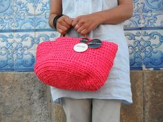 https://flic.kr/p/uiHdo4 | by me l byGuizo (facebook) | hand-made baskets - ice cream color collection  cotton l leather  in raspberry...   ÍCONE FASHION