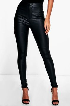 Lara Matte PU Coated Skinny Trousers | Boohoo