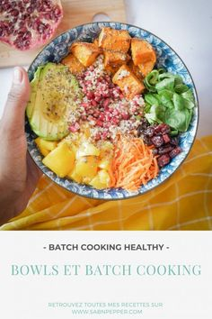 Batch cooking healthy : c'est possible - Sab'n'Pepper Batch Cooking, Healthy Cooking, Healthy Recipes, Healthy Food, Cobb Salad, Cantaloupe, Stuffed Peppers, Planning, Bowl