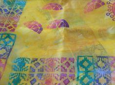 90x90cm silk scarf, yellow with art Foamie embellishment