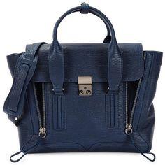Womens Satchels 3.1 Phillip Lim Pashli Medium Blue Leather Satchel (9 045 SEK) ❤ liked on Polyvore featuring bags, handbags, satchel handbags, blue handbags, blue satchel, leather handbags i genuine leather satchel handbags