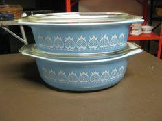 Vintage Pyrex  Rare  Promotional  Pair of Blue Tulip by AMC86