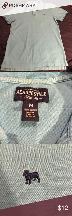 Aeropostale henley Bright blue henley with dark blue stripes around sleeves and collar. EUC. No holes or stains. Men's size Medium. Smoke free home. Aeropostale Shirts Polos