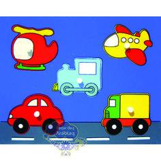 Quebra Cabeça Baby Meios de Transporte, Quebra Cabeça de Pino de Madeira, Quebra Cabeça Pipoquinha, Brinquedos Pipoquinha, brinquedos educativos, brinquedos