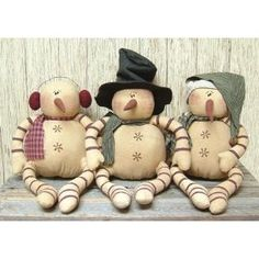Christmas Primitive Country Rustic Whimsical Snowman Trio $57.00