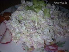 Výborný šalát z kyslej kapusty Czech Recipes, Ethnic Recipes, Cabbage Salad, Lchf, Ham, Salad Recipes, Potato Salad, Food And Drink, Rice