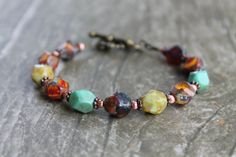 NEW to my HANDMADE BEADED JEWELRY collection! My new favorite piece!! :-)  Natural Tone Czech Glass Nugget Bead Bracelet by JLZCreations, $17.00