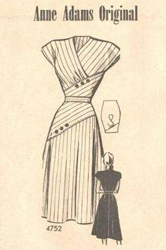 stripe vintage dress pattern