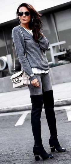 how to wear black over knee boots : grey sweater skinny jeans shirt bag