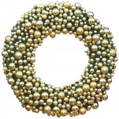 Elite Ornamented Christmas Wreath with abundant gold and silver ornamentation, lit with warm white LED mini lights.