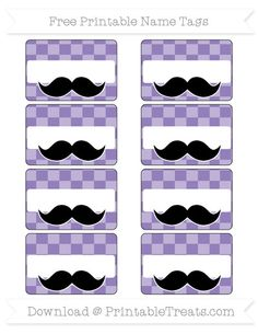 Pastel Dark Plum Checker Pattern  Mustache Name Tags