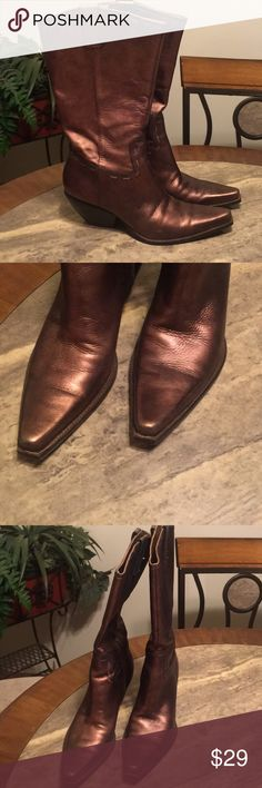 BCBG Bronze Western Style Cowboy Boots 3 inch bronze and gold boots. Stylish boots that zip in the inner legs. Visible wear. BCBG Shoes Heeled Boots