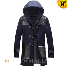 Hooded Shearling Duffle Coat Mens CW855570 Luxuriously plush shearling coat in duffle design, featuring with shearling hood, OX horn button and patch pockets, men's shearling hooded coat crafted from Australian supple and thick shearling material, feel fabulous while keeping out the winter chill.  www.cwmalls.com PayPal Available (Price: $1617.89) Email:sales@cwmalls.com