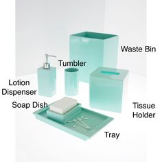 Solid Lacquer Light Blue Bath Accessory Collection   Overstock™ Shopping    The Best Prices On