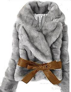 Női Hétköznapi divat/Felső , Az öv a termék része , Nyúl bunda/Műszőrme