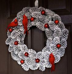Christmas Wreath, Pine Cone Wreath, Holiday Wreath, Bird Wreath, Snowy Wreath, Pinecone Wreath