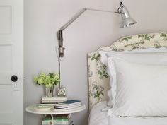 "Elizabeth Mayhew's bedroom wall color, Benjamin Moore paint Gray Owl 2137-60, "",,,is pale enough that in bright light it looks white, yet in average light it has enough pigment that it reads as a color."" (photo - Annie Schlechter) 