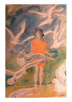 Bird Girl watercolour by Carolyn Roberts