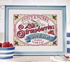 Strawberries and Cream - Cross Stitch Pattern (Digital Format - PDF) Wimbledon, Cross Stitch Designs, Cross Stitch Patterns, Stitching Patterns, Cross Stitching, Cross Stitch Embroidery, Diy Broderie, British Traditions, Wedding Cross Stitch