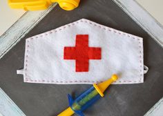 Felt Nurse's Cap for Children, Nurse Costume, Doctor, Vet, Pretend Play, Halloween, Photo Prop, Dress Up