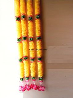 Bright Yellow wedding decoration garlands, mehendi decoration garlands, Haldi decor, Shaadi decor, Indian garlands, wedding garlands Bright Yellow, Pink And Green, Indian Crafts, Indian Wedding Decorations, Garland Wedding, Unique Christmas Gifts, Yellow Wedding, Flower Garlands, Backdrops For Parties