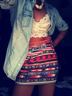 Denim shirt, aztec print tube skirt & lace bustier
