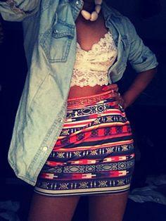 Denim shirt, aztec print tube skirt & lace bustier
