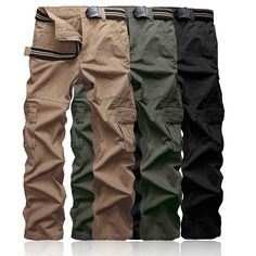 Men's camouflage pants slim fit long Full Length Military work pants men Cargo pants Khaki Army Multi-Pockets Trousers casual