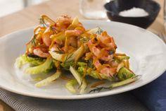 Oliven- og paprikamarinerte havreker med avokadosalat Cabbage, Vegetables, Food, Olives, Essen, Cabbages, Vegetable Recipes, Meals, Yemek