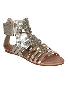 Liliana CK53 Women Metallic Lizard Leatherette Strappy Gladiator Ankle Flat Sandal  Gold Size 80 * Click on the image for additional details.