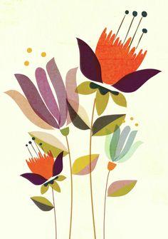 Illustration Blume, Mid Century Art, Motif Floral, Floral Illustrations, Abstract Flowers, Botanical Art, Doodle Art, Painting Inspiration, Flower Art