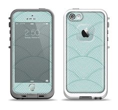 The Teal Circle Polka Pattern Apple iPhone 5-5s LifeProof Fre Case Skin Set