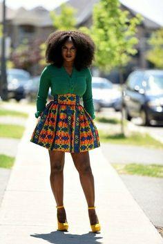 African print mini skirt. by RAHYMA ~African fashion, Ankara, kitenge, Kente, African prints, Senegal fashion, Kenya fashion, Nigerian fashion, Ghanaian fashion ~DKK