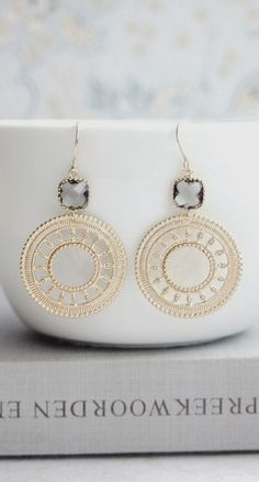 Gray Black Diamond Glass Drops, Gold Plated Lace Moroccan   Earrings. Gold Boho Round Filigree Earrings. Wedding Bridal. Bridesmaids Gift.  https://www.etsy.com/listing/167660029/gray-black-diamond-glass-drops-gold?ref=shop_home_active_18&ga_search_query=grey