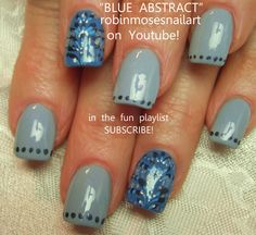 Nail-art by Robin Moses blue and silver http://www.youtube.com/watch?v=m3kiKEdpzVU