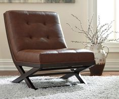 Sidewinder Brown Faux Leather Accent Chair