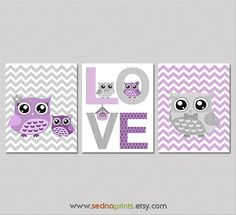 Purple and grey Nursery Art Print Set  8x10  Baby by SednaPrints