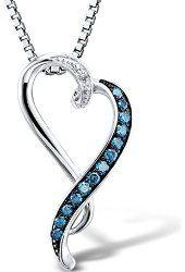 Blue and White Diamond Heart Pendant 10k White Gold $299