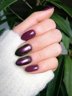 Spring nails burgundy shine gold