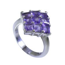 studly Amethyst Silver Purple Ring jewelry L-1in US 5678
