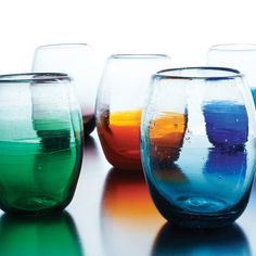 MULTICOLOR OMBRE STEMLESS WINE GLASS SET | wine glasses | UncommonGoods      LOVE THESE!