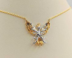 Sterling Silver Phoenix Bird Necklace Pendant Cubic Zirconia 18 Chain Rose Gold Plated for Women