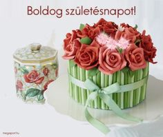"""Rose bouquet cake - With inspiration from a vintage tin jar I made cake and cake balls on the theme """"recycling"""" for a local garbage calender (! Creative Cake Decorating, Creative Cakes, Cake Feta, Share Pictures, Cake Tower, Cake Show, Animated Gifs, Monster Cupcakes, Red Rose Bouquet"""