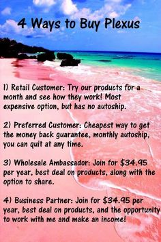 Four great ways to try Plexus! Message me when you are ready to purchase!!!
