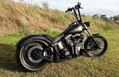 #Repost heartlandbiker: Custom Night Train built by @jasons_garage with a @heartlandbiker 250 Tire Conversion! #heartlandbiker #jasonsgarage #harleydavidson #softail #nighttrain #motorcycle #chopper #bobber #vtwin #australia