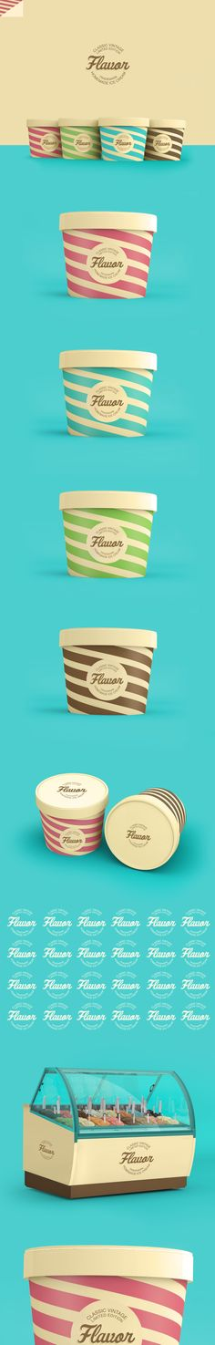 Flavor Ice Cream Packaging by Renan Vizzotto, via Behance. V cute stuff.