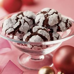 Walnut Brownie Cookies | Christmas Cookies and Treats | FamilyFun  I think you could omit the walnuts altogether and make brownie crinkle cookies.