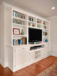 Built in shelves living room, built in bookcase, bookcases, narrow family room, Narrow Family Room, Built In Entertainment Center, Muebles Living, Farmhouse Side Table, Built In Bookcase, Built In Cabinets, Wall Cabinets, Home Living Room, Built Ins