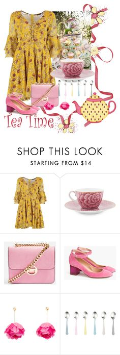 """Tea Party Contest"" by shamrockclover ❤ liked on Polyvore featuring Boohoo, PiP Studio, Topshop, J.Crew, Aurélie Bidermann and canvas"
