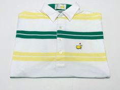 The Masters Augusta National Golf Shop L Men's Multi-Color Stripe Polo Large #Masters #PoloRugby
